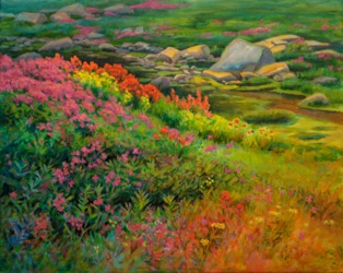 Wild Flowers at Thunderwater Lakes, Landscape Oil Painting by Ann McLaughlin