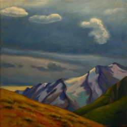 Up Above the Mountain Peaks, Landscape Oil Painting by Ann McLaughlin